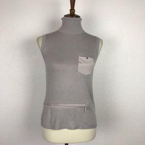 IRoo Gray Knit Turtle Neck Zip Top